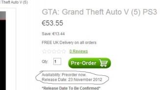 GTA 5 Negozio su internet indica la data di uscita per novembre 2012