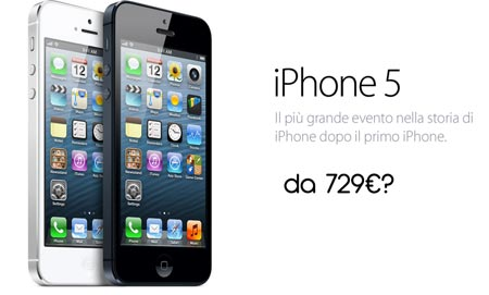 iPhone 5 prezzo da 729 euro