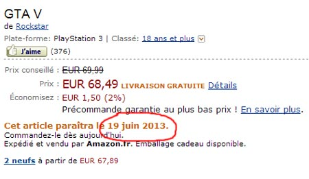 GTA 5 Amazon francese rivela la data di uscita