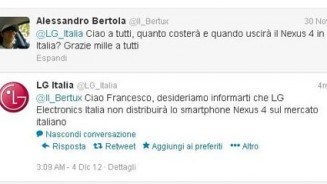 Nexus 4 LG non lo vendera in Italia