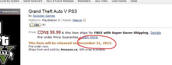 GTA 5 in Canada arrivera il 31 dicembre ma si sbagliano