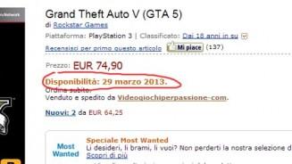 GTA 5 uscita Amazon Italia dice il 29 marzo